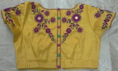 Gold blouse with back high neck maggam work 7702919644