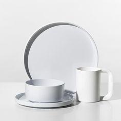 Heller White Melamine Dinnerware | Unison | Helleru0027s modern salad plates dinner plates and soup & SNOW WHITE AND THE SEVEN DWARFS PLATES! Nate Berkus™ Gemcut 16-Piece ...