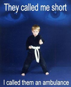 Samurai Karate School offers Columbia's best Martial Arts instruction for both children and adults. Learn real self defense while building confidence Short Girl Problems, Ju Jitsu, Short People, Thing 1, Laugh Out Loud, The Funny, Martial Arts, I Laughed, Laughter