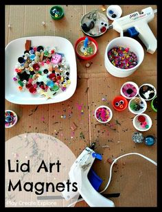 Lid and Bottle Cap Art Magnets