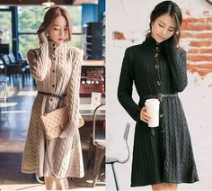 Beautiful  Korean style long sweater dress for  female.(with Belt), $49. #Pre-order#Shipping Worldwide. Want to buy it. Contact us, สนใจสั่งซื้อติดต่อเรา.   Store Website : https://yourstylenina.ecwid.com/  , or ID Line:  yourstylenina , or  FB:  https://www.facebook.com/pages/Your-Style/370344776416837
