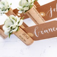 Decorate your winery wedding with a gorgeous, unique twist on wine cork place card holders! Our Classic Place Card Holders start with 3 hand-selected, vintage wine corks that are bound together Wedding Name Cards, Card Table Wedding, Reception Card, Wedding Seating, Name Card Holder, Place Card Holders, Vintage Place Cards, Cork Wedding, Seating Cards