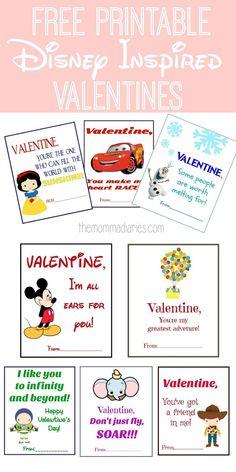 Printable Disney Valentines, Disney Inspired Valentines, Free Printable Valentines, Disney Valentines