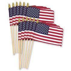 US Stick Flag 8in x 12in Standard Wood Stick with Spear Tip - 12PK Line sidewalk