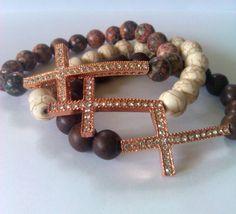 KikiJabri Jewels Rose Gold Sideways Cross by KiKiJabriJewels, $18.00