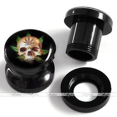 2pcs Gauge Acrylic Maple Skull Screwed Ear Tunnel Plug Stretcher Expander Punk in Jewelry & Watches | eBay