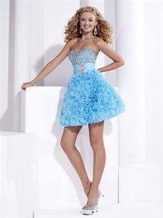 Sweetheart Strapless Sequin Drape Light Sky Short Prom Dress PD0229 www.tidebridaldresses.com $120.0000