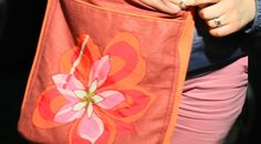 casual bag ROSE ORANGE FLOWER, face side, emroidered