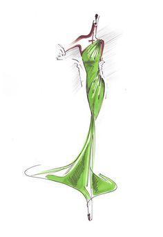 Fashion sketch. Carolina Herrera