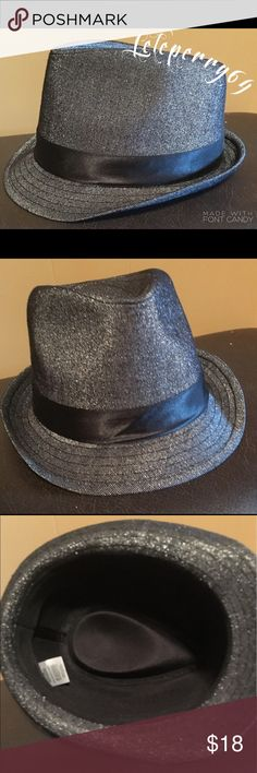 NWOT Fedora Hat Black & silver glitter fedora Accessories Hats