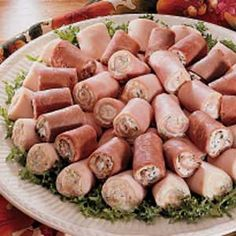 Appetizer Roll-Ups ~ Cream cheese and a variety of herbs and vegetables make even deli cold cuts a fancy and filling appetizer. Bite-size pieces look so pretty set on a platter in a circle. This recipe makes roast Beef Roll-Ups and Ham  Turkey Roll-Ups.