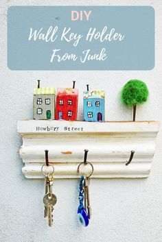 Simple to make upcycled wall key holder just using scrap wood and a few rusty nails. Great gift idea, it can also be personalized with your own street name.