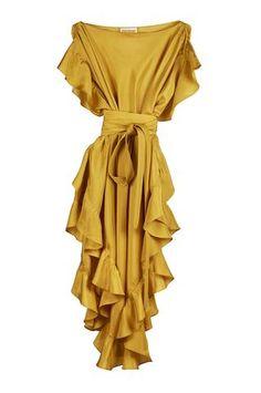 Ruffle Kaftan with Quilted Obi Belt Black Parachute Silk Iphone Wallpaper Vintage Retro, Light Grey Bridesmaid Dresses, Silk Dress, Wrap Dress, Obi Belt, Festa Party, Feather Dress, Short Dresses, Summer Dresses