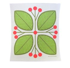 Leaves and Berries, Green Cellulose Dishcloth
