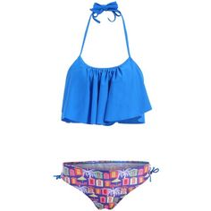 15.63$  Watch now - http://diaz6.justgood.pw/go.php?t=YZ0209701 - Women's Charming Ruffles  House Print Lace Up Swimsuit 15.63$