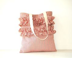 red and cream ruffled  tote bag / shabby chic / nautical / patriotic / stripes / farmhouse country / ticking fabric / spring summer fashion