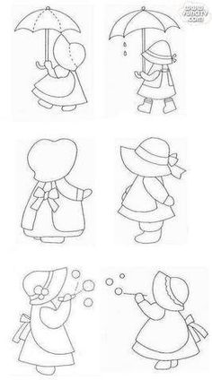 New Embroidery Patterns Girl Sunbonnet Sue Ideas Patchwork Patterns, Quilt Patterns Free, Applique Patterns, Applique Quilts, Applique Designs, Embroidery Applique, Embroidery Stitches, Embroidery Designs, Sunbonnet Sue