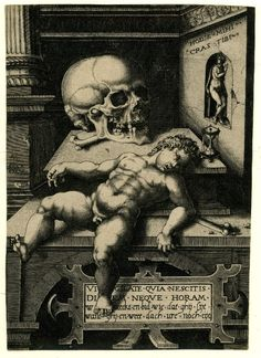 Published by Hieronymus Cock  1550 (circa)  Vanitas; a large skull and a sleeping putto in an architectural framework  Etching