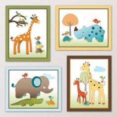 Giraffe Safari, Jungle Animals Nursery Wall Art, Decor. Kids Bedroom Decor (8″x10″, (4) Set of Four) http://audrisnursery.com/s/giraffe-safari-jungle-animals-nursery-wall-art-decor-kids-bedroom-decor-8x10-4-set-of-four/
