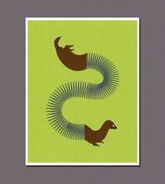 Ferret Oh Ferret - Slinky-Animal Hybrid 8 x 10 Art Print