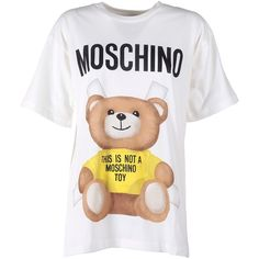 Moschino Moschino Teddy Bear Jersey-Cotton T-Shirt found on Polyvore featuring tops, t-shirts, multicolor, crew t shirts, white crew t shirt, teddy bear t shirts, multicolor t shirt and white crew neck tee