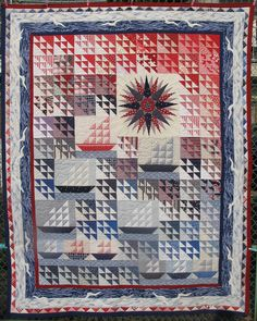 "North Wind by Julie  Fukuda at My Quilt Diary : ""North Wind was begun the winter of 1994 for no other reason than that I liked that block made of triangles and wanted to see it in a quilt.""  Entirely hand quilted."