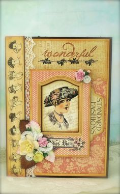Synnøves Papirverksted: Ny fargeutfordring hos Sketchy Colors, vintage, Graphic45, handmade card, stamping,