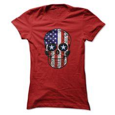 USA Patriotic American Flag Sugar Skull Tshirt