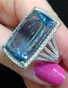 Fabulous #aquamarine and #diamond cocktail ring by @Coast Diamond. Via Diamonds in the Library.