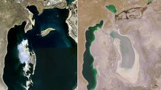 The Aral Sea in 1989 (left), and now (NASA Earth Observatory)