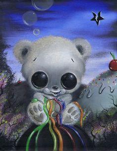 Sugar Fueled Honey Bear Animals Rainbow Ice Cream Lowbrow Creepy Cute Big Eye Art Print on the redditgifts Marketplace #redditgifts