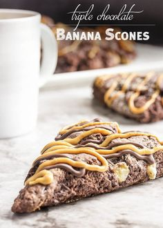 Triple Chocolate Banana Scones - These triple chocolate scones are studded with…