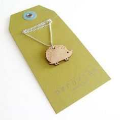 Adorable #Hedgehog Necklace | Artifacts of Life #wood #jewelry