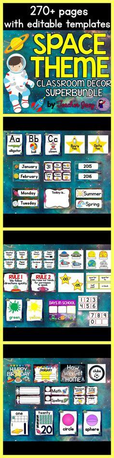 Space Theme Classroom Decor Bundle Editable
