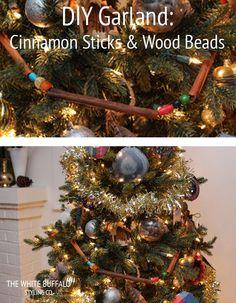 DIY Christmas Garland - Cinnamon Sticks and Wood Beads