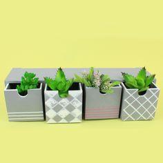 Plus Color -maalein ja -tussein koristeltu pieni lokerikko. Planter Pots, Color, Colour, Colors