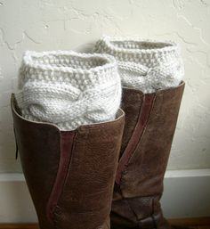 Cream knitted Boot cuffs, Beige Boot toppers