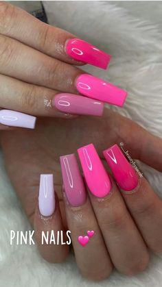 Acrylic Nail Designs Coffin, Acrylic Nails Coffin Short, Simple Acrylic Nails, Square Acrylic Nails, Pink Acrylic Nails, Acrylic Nails With Design, Bright Summer Acrylic Nails, Neon Pink Nails, Dark Pink Nails