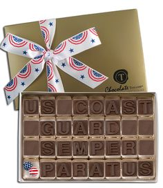 US Coast Guard Semper Paratus, with decorative foil-wrapped patriotic chocolate balls, and your choice of hand-tied ribbon.