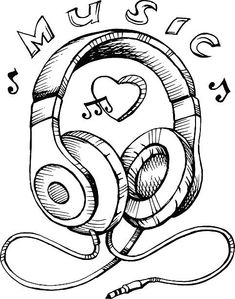 Headphones sketch vector illustration with musical notes - illustration . Art Drawings Beautiful, Art Drawings Sketches Simple, Pencil Art Drawings, Cute Drawings, Doodle Art Drawing, Graffiti Drawing, Music Drawings, Doodle Art Designs, Doodle Illustrations