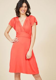 You Flutter Me So Knit Dress in Coral in XS, #ModCloth