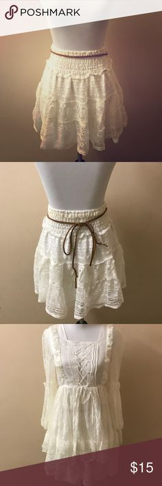 White Lace Skirt with Brown Strap Tie Beautiful lace skirt with brown strap to tie. Size XS-S. **Highly Recommended! Pair with Beauty in White Lace Top to create a white lace dress! Enjoy! 💕 J.C. Penny Skirts Mini