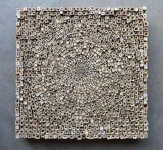 'Zonnekroon' by Dutch artist Rob Plattel. Silphium perforatum, 55 x 55 x 7 cm. Abstract Sculpture, Wood Sculpture, Sculptures, Ceramic Wall Art, Wood Wall Art, Motif Floral, Wooden Art, Art Deco Design, Texture Art