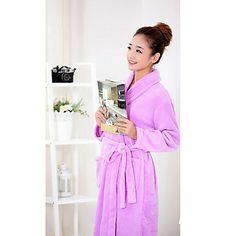 Bath Robe,High-class Woman Purple Solid Colour Garment Thicken – USD $ 19.99