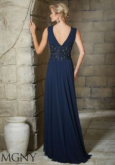 Evening Gowns and Mother of the Bride Dresses by Morilee. Chiffon Evening Gown/Mother of the Bride Dress with Embroidered and Beaded Appliques.