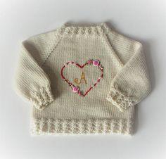 Monogram sweater baby girl sweater heart embroidery cardigan
