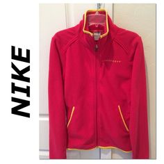 """Fuschia Nike Livestrong fleece full zip  Livestrong lives on. Looks red but it is a fuschia color with yellow piping. 100% polyester fleece. Thumbholes, stand collar, 2 no-zip pockets. XS. 17-3/4"""" pit to pit, 23"""" back of neck to bottom. Fitted style. True to size. Great condition. Soft and comfy. Nike Tops"""