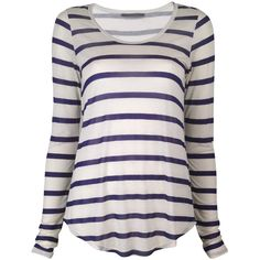 Velvet by Graham and Spencer Minerva Striped Top ($105) ❤ liked on Polyvore featuring tops, t-shirts, shirts, blusas, sweaters, navy, stripe tee, navy tee, navy blue striped shirt and t shirts