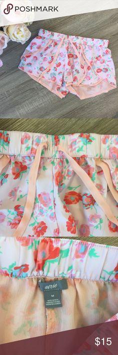 Aerie PJ Shorts Floral pajama shorts. Elastic waist band with drawstring. Good condition aerie Intimates & Sleepwear Pajamas