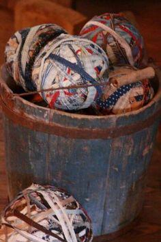 Jar Fillers New 12 Pioneer Woman Inspired Rag Balls Farmhouse Bowl Basket